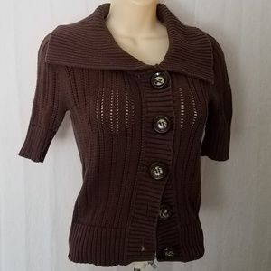 Fossil Sweaters - Brown Knit 1/2 Sleeve Button Down Cardigan